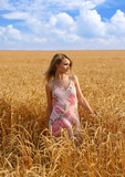 anna in wheat field 1 poster