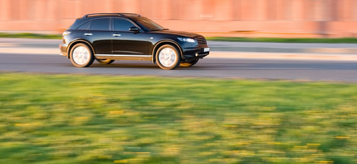 luxury and power: black infitity fx car speed fast