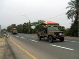 army convoy.transportation. lorries for soldiers poster