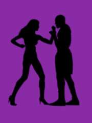 woman versus man fight violet