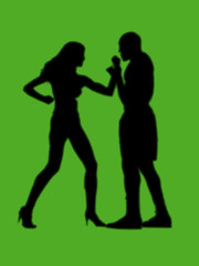 woman versus man fight light green