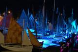 nuit bleue sur le port poster