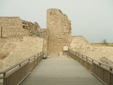 Entrance to a historical place. Ruins in Caesarea in Israel poster