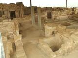 interior of ancient rooms in caesarea in israel. poster