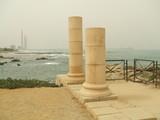 romans columns in the port of caesarea in israel poster