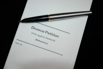divorce papers and pen