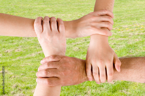 four hands joined together with a grass background