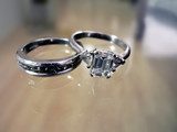 wedding ring & band - diamond & platinum 2 poster