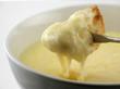 cheese fondue half dipped