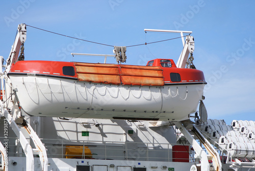 lifeboat secured to large ship
