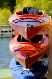 colorful boats on a trailer. poster