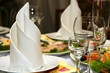 wineglass and napkin in restaurant - 3301081