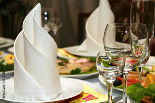 wineglass and napkin in restaurant