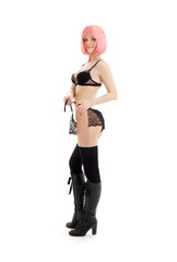 girl in black lingerie with pink hair