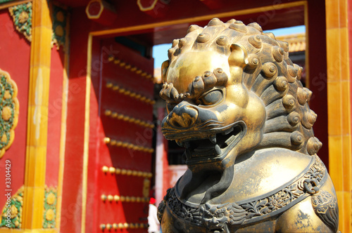 chinese lion guarding door