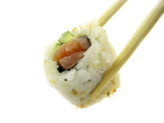 roll with a salmon and a cucumber on a white background.