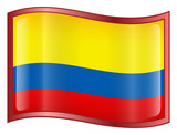 colombia flag icon. (with clipping path) poster