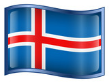 iceland flag icon. (with clipping path) poster