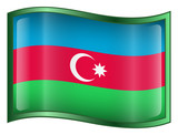 azerbaijan flag icon. (with clipping path) poster