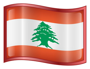 lebanon flag icon. (with clipping path)