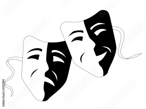 Tragedy And Comedy. Theater masks comedy tragedy