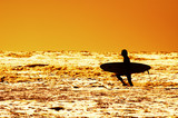 surfing and sunset poster