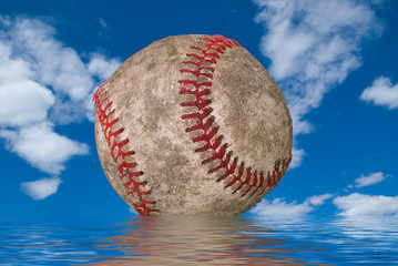 dirty baseball in water
