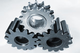gears machinery against white background poster