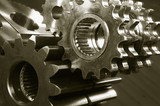 mechanical gear concept in brown poster