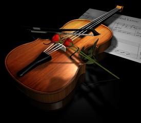 violino con rosa rossa