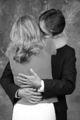 black & white up close hug