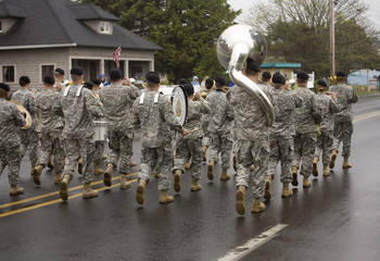 military band marching on a foggy day