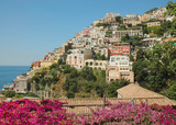 positano italy and bouganvilleas
