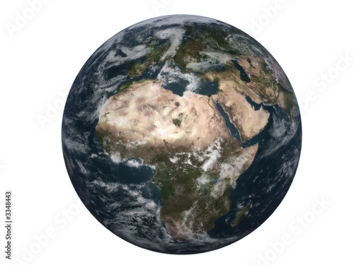 "realistic 3d earth ""africa"" - white background"