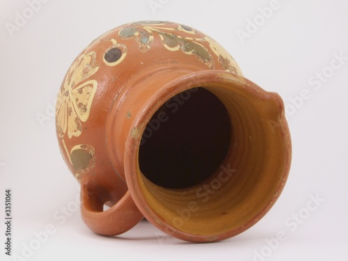 glazed jug on side