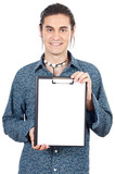 casual boy with notepad poster