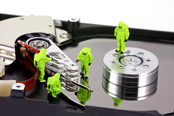hazmat team inspecting a hard drive
