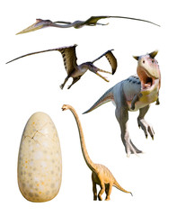 four most popular dinosaurs - clipping paths
