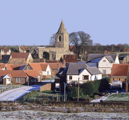 english village in winter