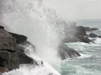 storm surge on rocky coast