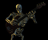 skeleton playing guitar poster
