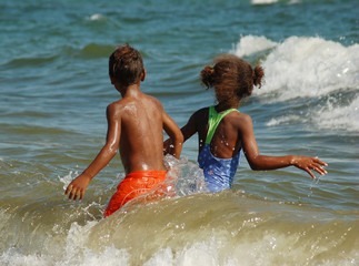 children on beache