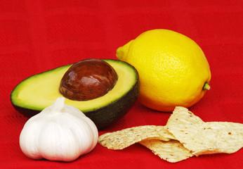 avocado, garlic, lemon, tortilla chips