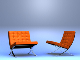 two designer's chairs