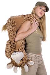 girl with giraffe over shoulder