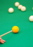 billiards. aiming the ball. poster