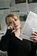 newspaper - businesswoman - mobile phone
