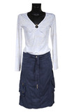 white blouse and jeans skirt poster