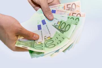 euros in hands
