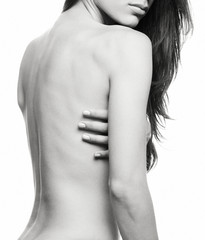 topless girl black and white sexy body detail 2